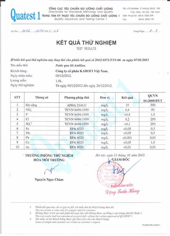 Chứng nhận đạt tiểu chuẩn của máy lọc nước Karofi